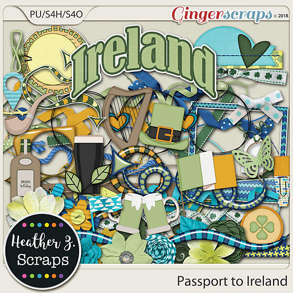 Passport to Ireland ELEMENTS by Heather Z Scraps