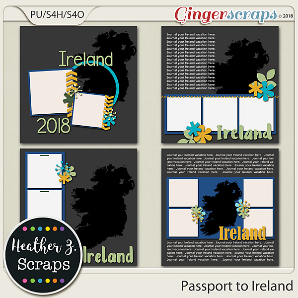 Passport to Ireland TEMPLATES by Heather Z Scraps