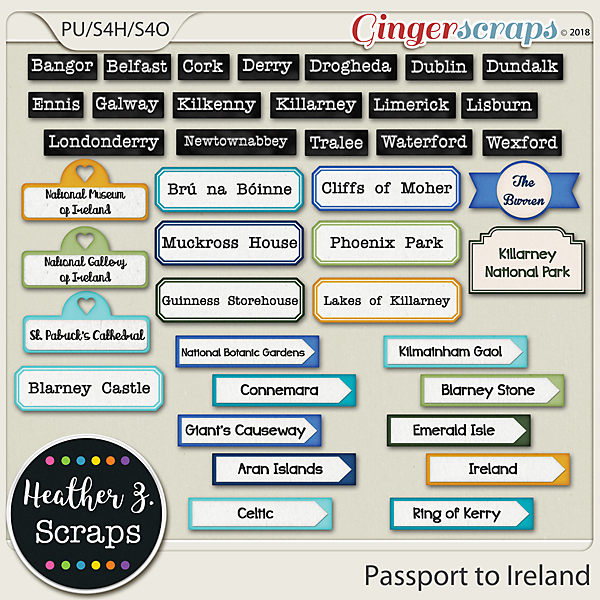 Passport to Ireland WORD BITS by Heather Z Scraps