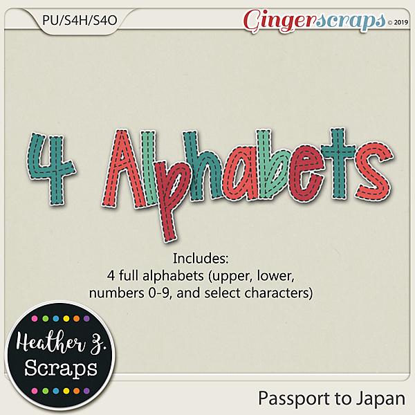Passport to Japan ALPHABETS by Heather Z Scraps