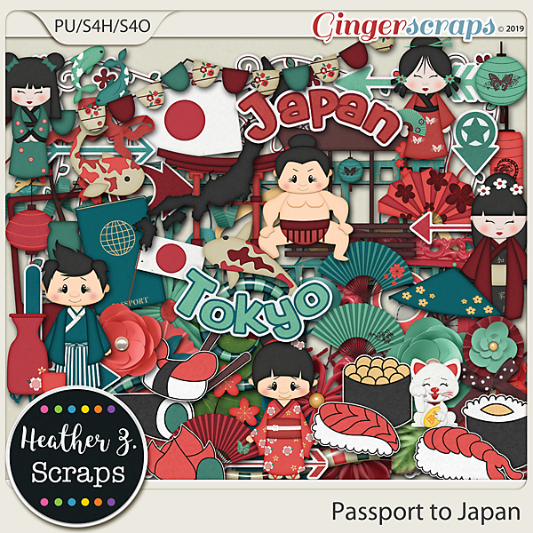 Passport to Japan ELEMENTS by Heather Z Scraps
