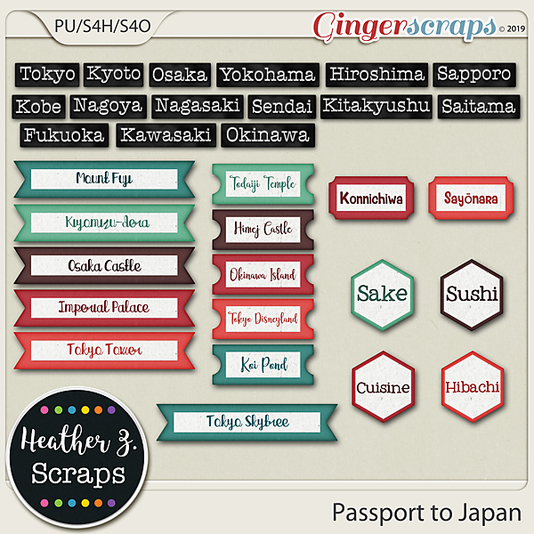 Passport to Japan WORD BITS by Heather Z Scraps