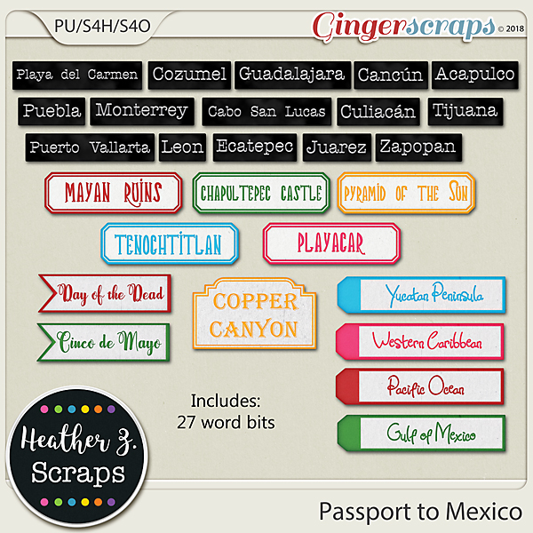 Passport to Mexico WORD BITS by Heather Z Scraps
