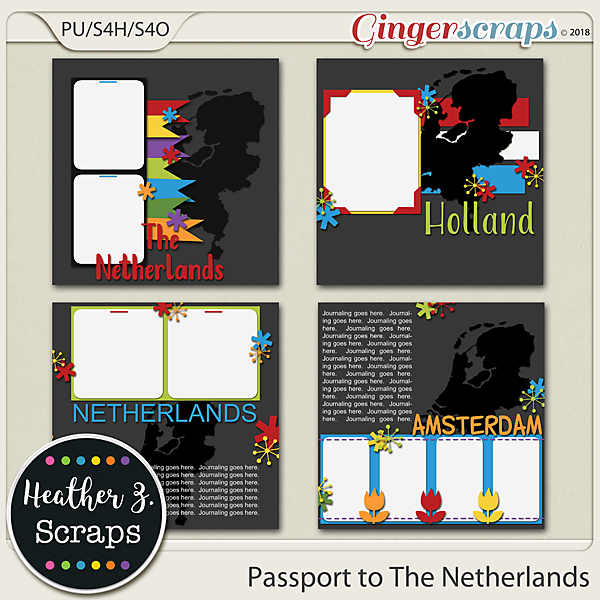 Passport to The Netherlands TEMPLATES by Heather Z Scraps