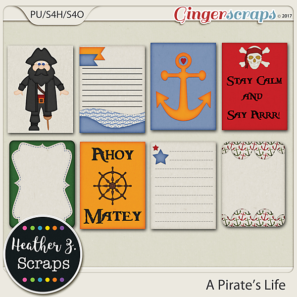 A Pirate's Life JOURNAL CARDS by Heather Z Scraps