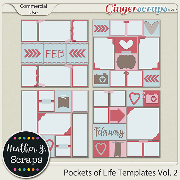 Pockets of Life TEMPLATES Vol. 2 by Heather Z Scraps