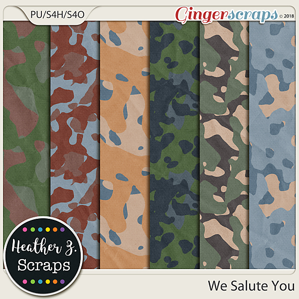 We Salute You CAMO PAPERS by Heather Z Scraps