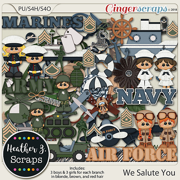 We Salute You ELEMENTS by Heather Z Scraps