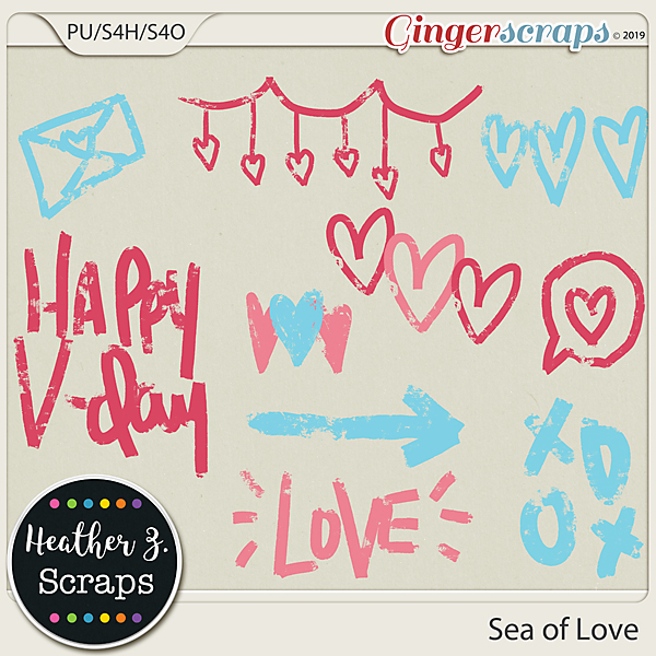 Sea of Love GRUNGE HEARTS by Heather Z Scraps