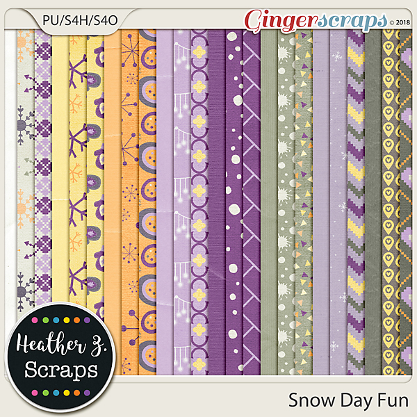 Snow Day Fun PAPERS by Heather Z Scraps