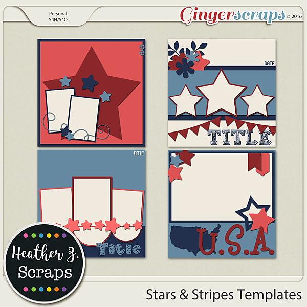 Stars & Stripes TEMPLATES VOL 1 by Heather Z Scraps