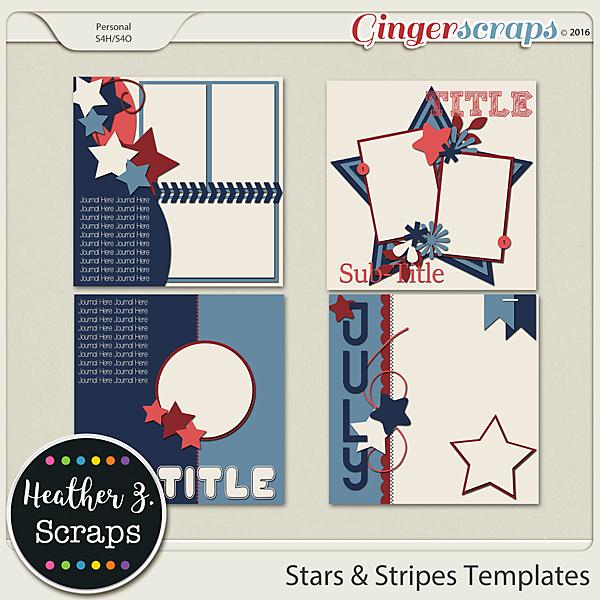 Stars & Stripes TEMPLATES VOL 2 by Heather Z Scraps