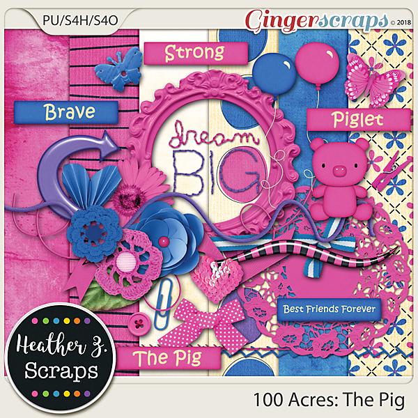 100 Acres THE PIG MINI KIT by Heather Z Scraps