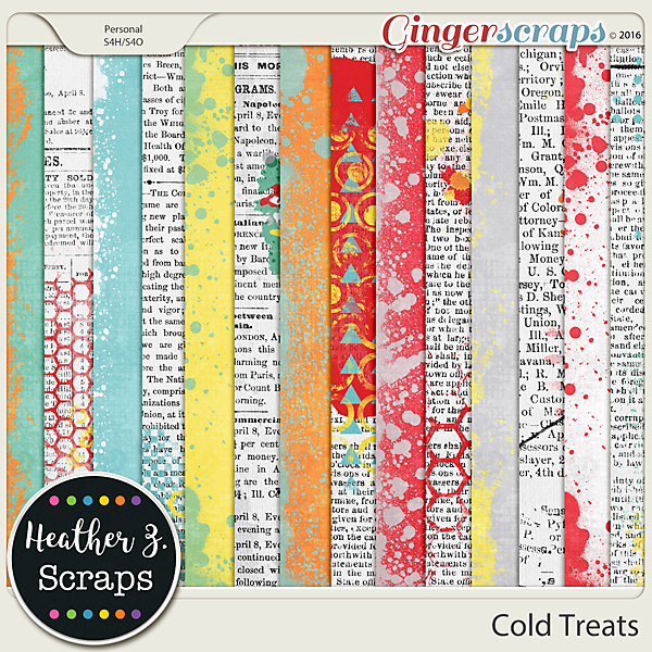 Cold Treats PAINTED PAPERS by Heather Z Scraps