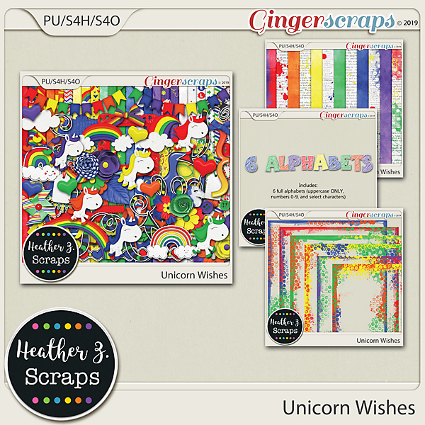 Unicorn Wishes BUNDLE by Heather Z Scraps