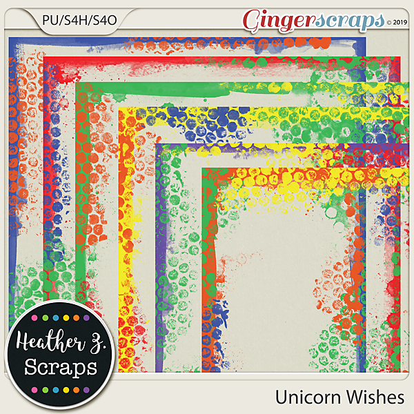 Unicorn Wishes PAINTED BORDERS by Heather Z Scraps