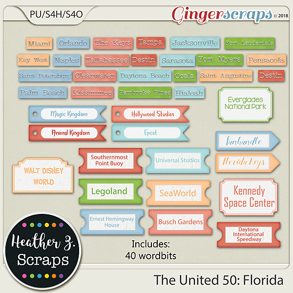 The United 50: Florida WORD BITS by Heather Z Scraps