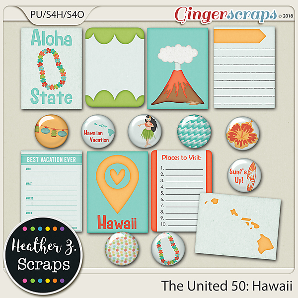 The United 50: Hawaii JOURNAL CARDS & FLAIRS by Heather Z Scraps