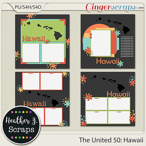 The United 50: Hawaii TEMPLATES by Heather Z Scraps