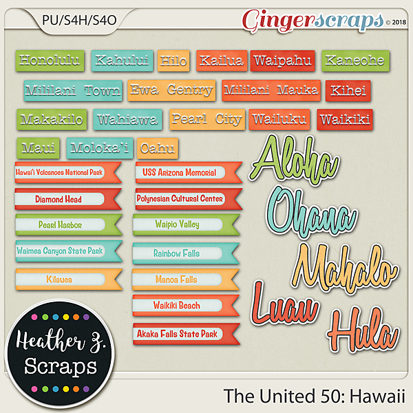 The United 50: Hawaii WORD BITS by Heather Z Scraps