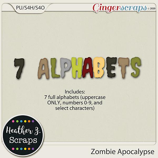 Zombie Apocalypse ALPHABETS by Heather Z Scraps