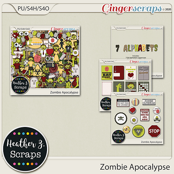 Zombie Apocalypse BUNDLE by Heather Z Scraps