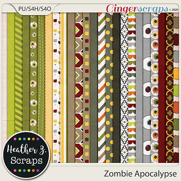Zombie Apocalypse PAPERS by Heather Z Scraps