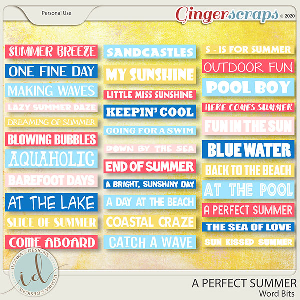 A Perfect Summer Word Bits by Ilonka's Designs