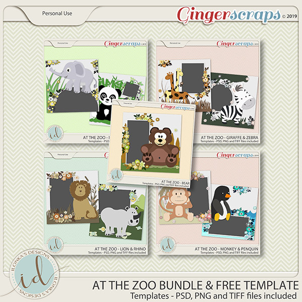 At The Zoo Template Bundle & Extra Template by Ilonka's Designs