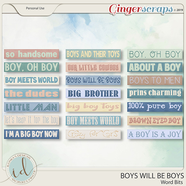 Boys Will Be Boys Word Bits by Ilonka's Designs