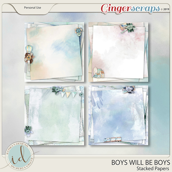 Boys Will Be Boys Stacked Papers by Ilonka's Designs