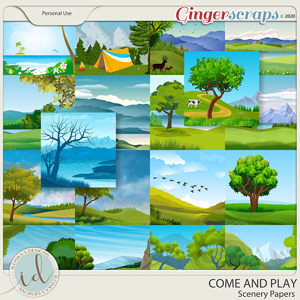 Come And Play Scenery Papers by Ilonka's Designs