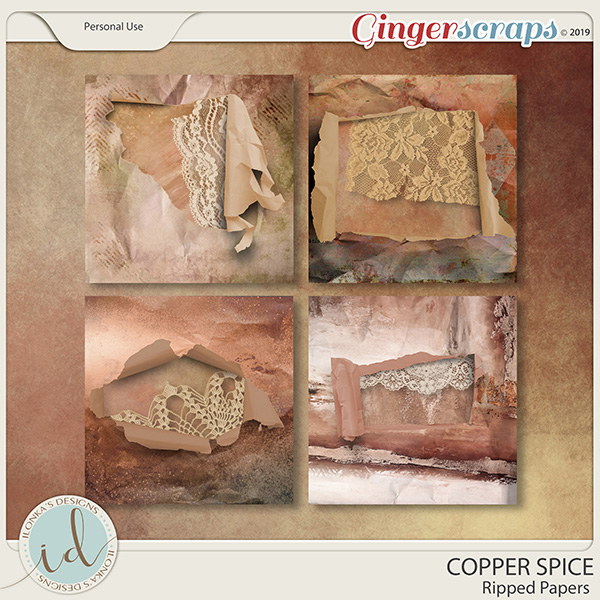 Copper Spice Ripped Papers by Ilonka's Designs