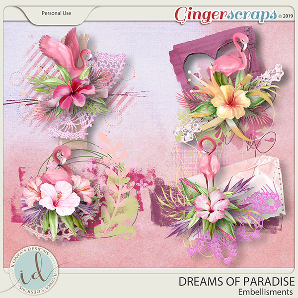 Dreams Of Paradise Embellishments by Ilonka's Designs