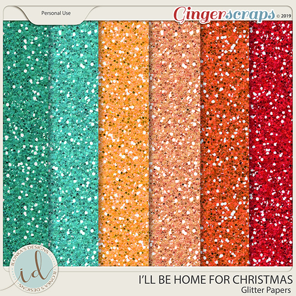 I'll Be Home For Christmas Glitter Papers by Ilonka's Designs