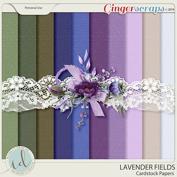 Lavender Fields Cardstock Papers by Ilonka's Designs
