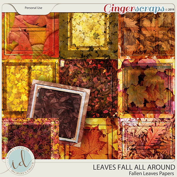 Leaves Fall All Around Fallen Leaves Papers by Ilonka's Designs