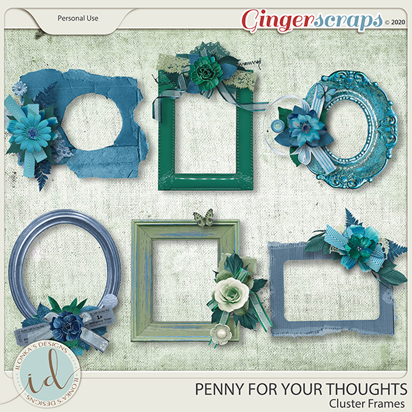 Penny For Your Thoughts Cluster Frames by Ilonka's Designs