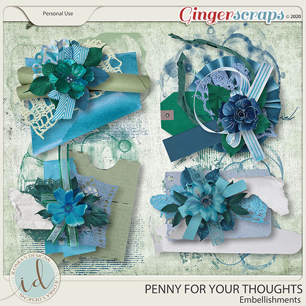 Penny For Your Thoughts Embellishments by Ilonka's Designs