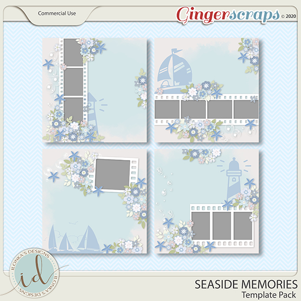 Seaside Memories Template Pack by Ilonka's Designs