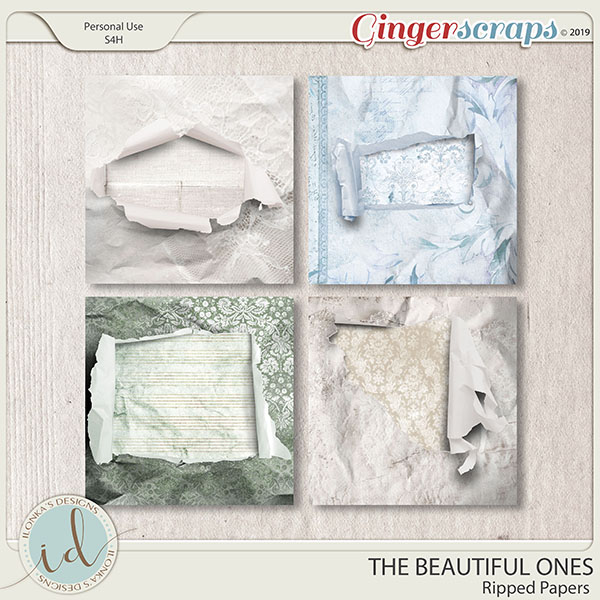 The Beautiful Ones Ripped Papers by Ilonka's Designs