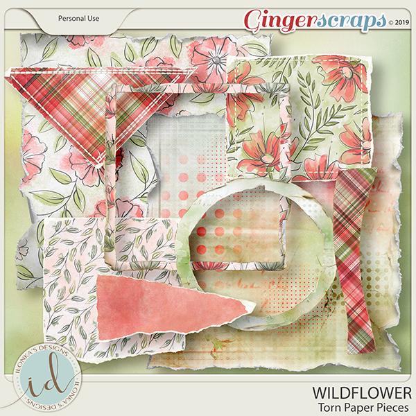 Wildflower Torn Paper Pieces by Ilonka's Designs