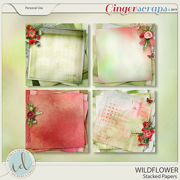Wildflower Stacked Papers by Ilonka's Designs