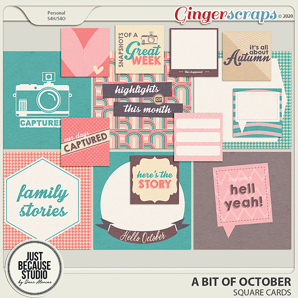 A Bit of October Square Cards by JB Studio