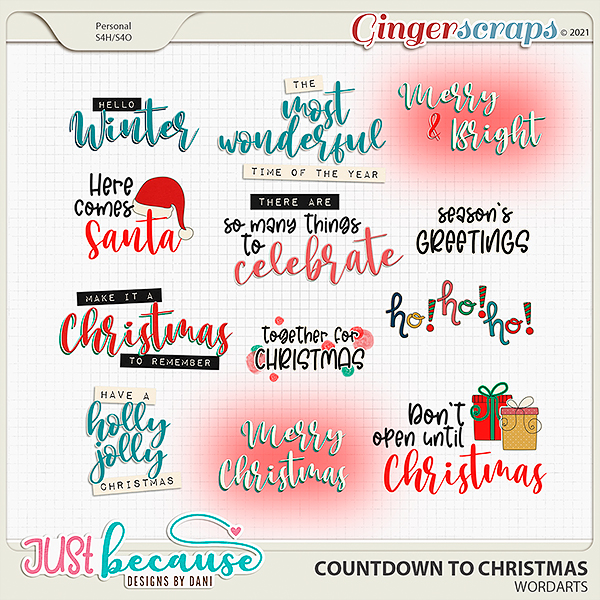 Countdown to Christmas Wordarts by Just Because Studio