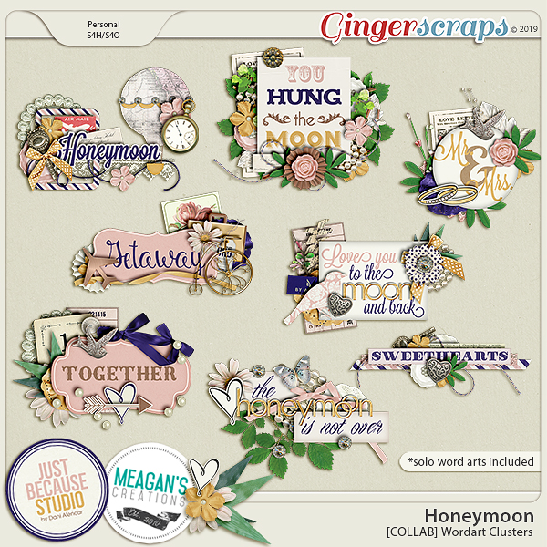 Honeymoon Wordart Clusters by JB Studio and Meagan's Creations