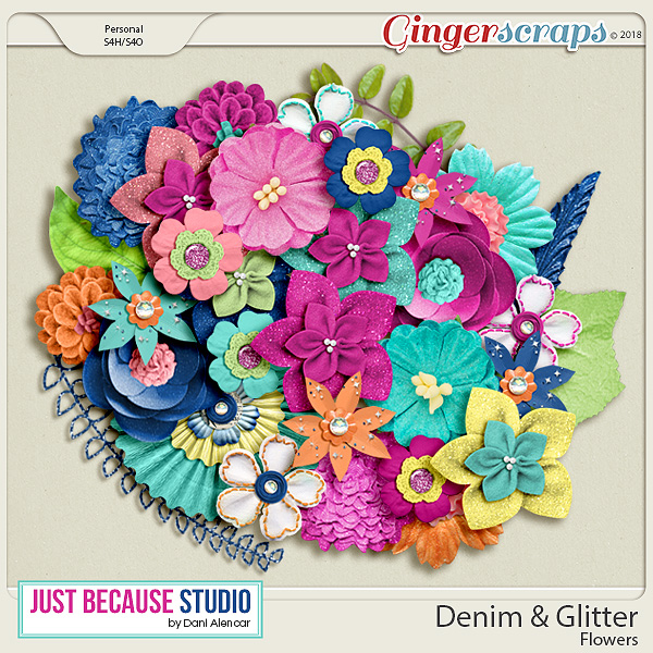Denim & Glitter Flowers by JB Studio