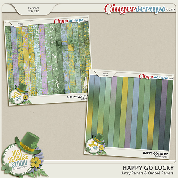 Happy Go Lucky Artsy and Ombre Papers by JB Studio
