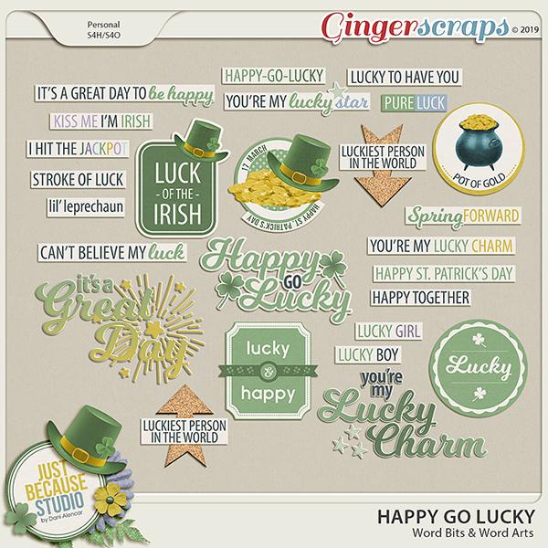 Happy Go Lucky Word Arts & Word Bits by JB Studio