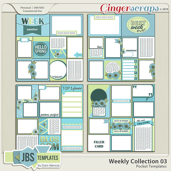 Weekly Collection 3 Pocket Templates by JB Studio